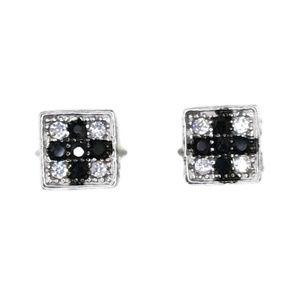 white gold on stud earring square & cross black CZ